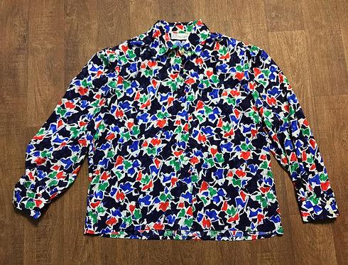 1980s Vintage Bold Floral Print Shirt/Blouse UK Size 16/18
