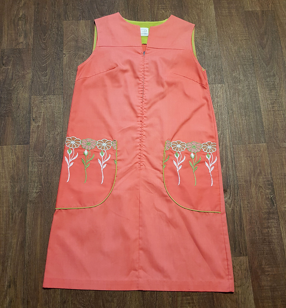 1960s Vintage Coral Zipped Tunic Dress UK Size 12