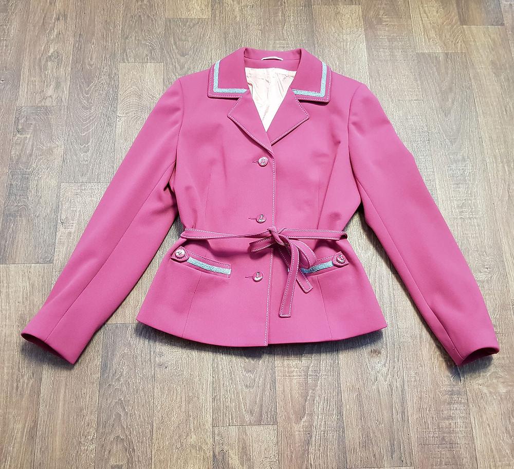 1970s Vintage Deep Pink Belted Jacket UK Size 12