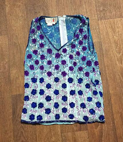 1970s Vintage Blue Purple Ombre Sequin Top UK Size 10