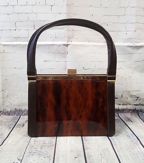 1960s Vintage Tortoiseshell Panel Boxy Handbag | Vintage Handbags | 60s Handbags