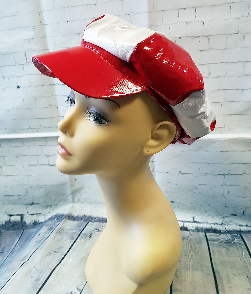 1960s Style Red & White Patent Baker Boy Hat