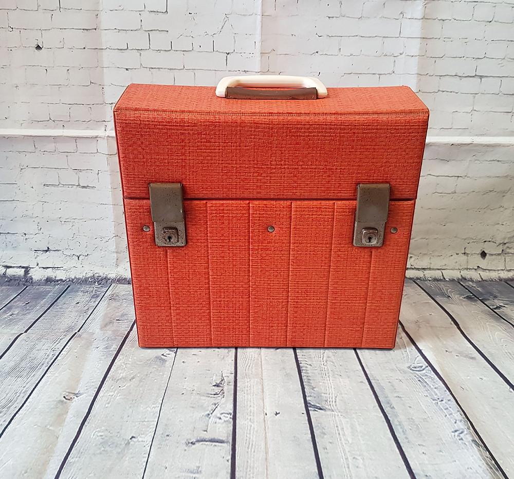 "1960s Vintage Orange Textured 12"" Record Case"
