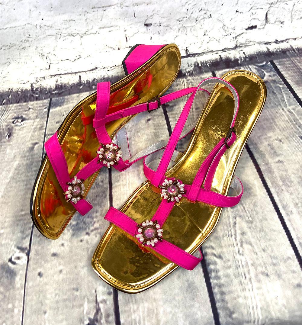 1960s Vintage Hot Pink Bejewelled Sandals UK 6/EU 39