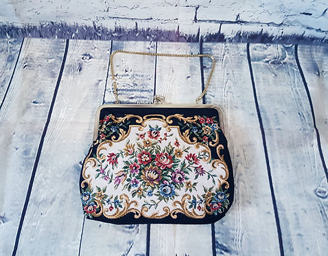 Vintage Tapestry Bag | 1950s Needlepoint Bag | 1950s Accessories | Eco Friendly