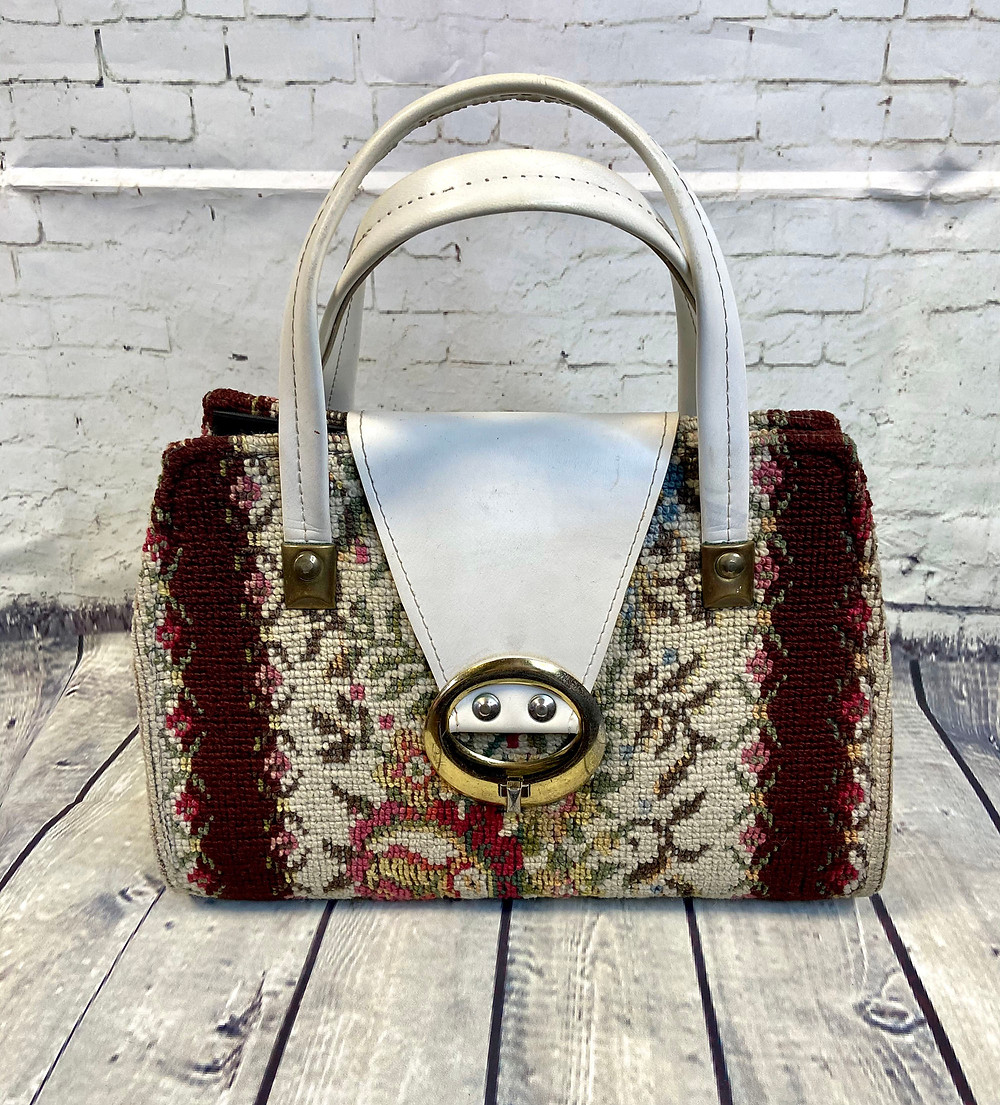 1960s/70s Vintage Tapestry Carpet Handbag - Vintage Handbags