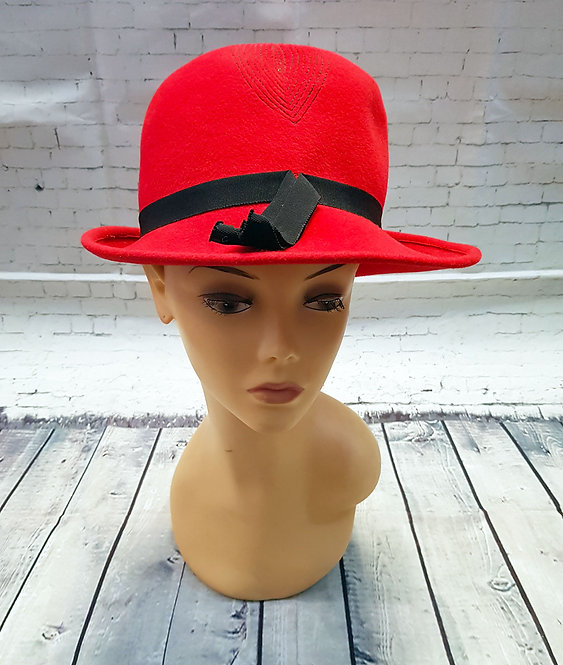 Vintage Hats | Fedora Style Hat | Vintage Red Hat | 60s Style