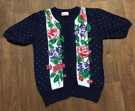 Vintage 80s Navy Floral Knit Short Sleeve Cardigan UK Size 12/14