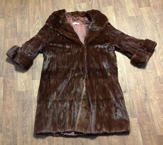 Vintage 1960s Kendal Milne Mink Fur Coat UK Size 14/16
