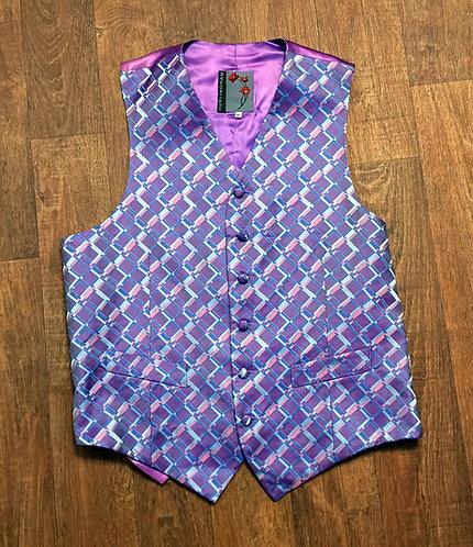 Mens Vintage 1980s Purple Geometric Pattern Waistcoat UK Size Small