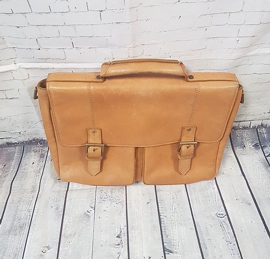 Vintage Inspired Light Tan Leather Brief Case/Satchel/Bag | Leather Satchel | Vintage Briefcase