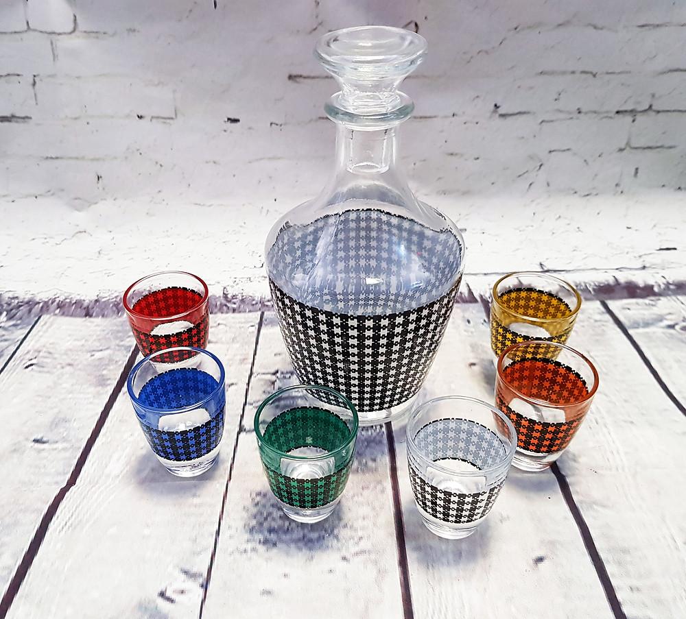 Vintage Dogtooth Glass Decanter & Shot Glasses