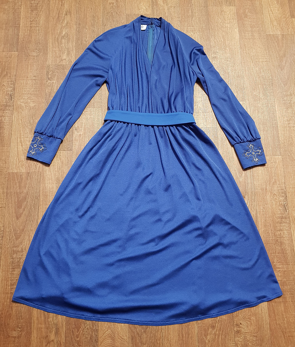1970s Vintage Carnegie of London Midnight Blue Dress UK Size 12/14