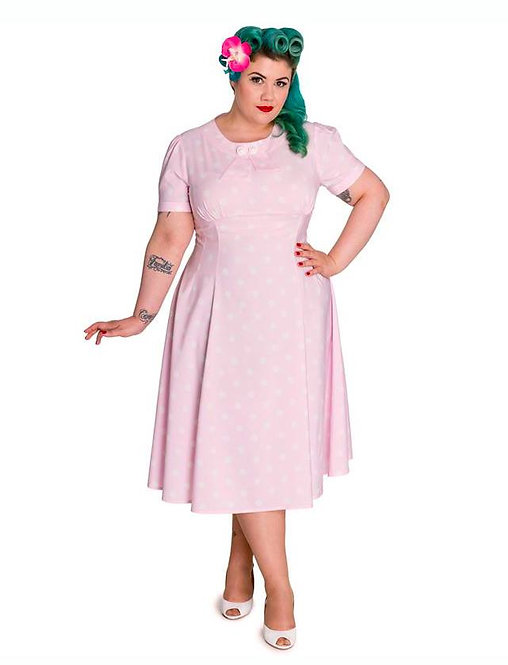 1940s Vintage Inspired Pastel Pink Polka Dot Tea Dress