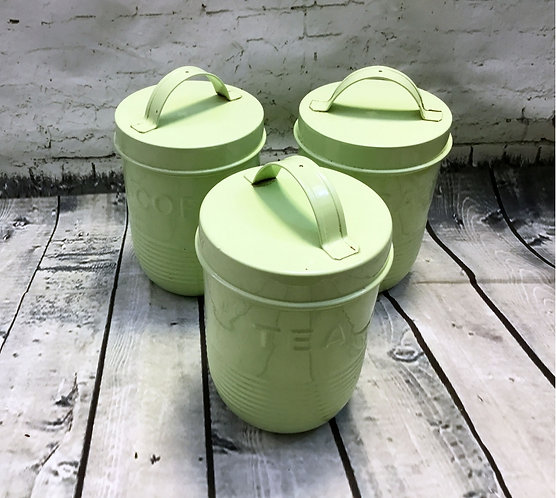 Vintage Retro Mid Century Pale Green Canisters Kitchenalia