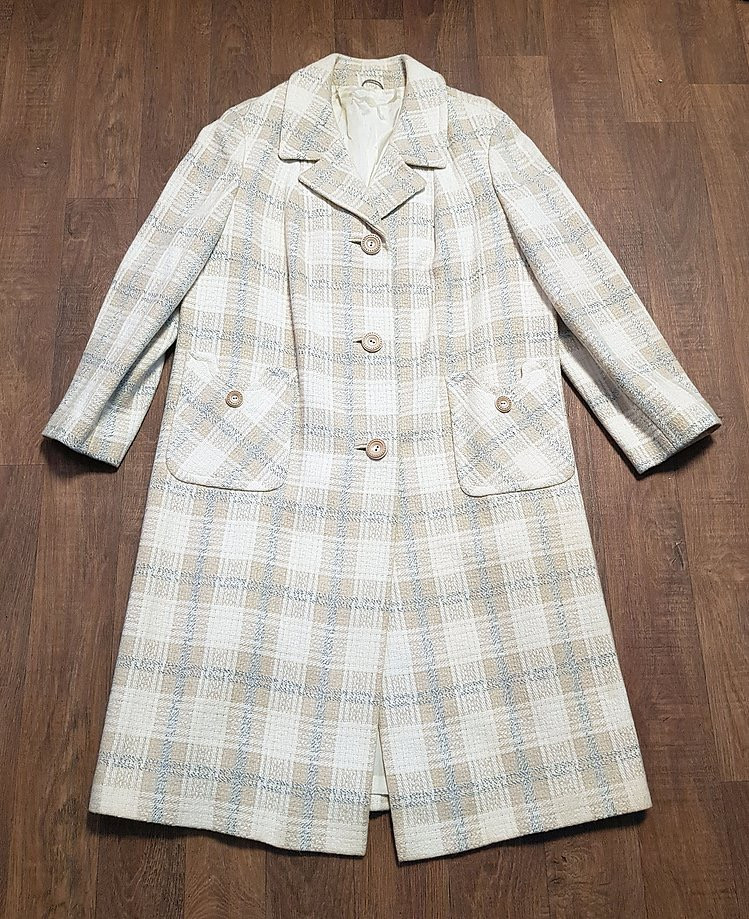 1960s Vintage Oatmeal Check Wool Coat UK Size 16