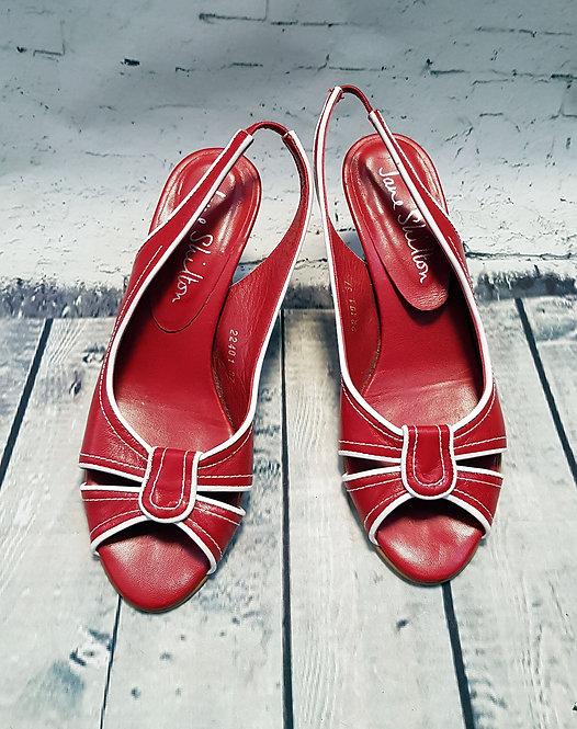 1980s Vintage Jane Shilton Red Slingback Kitten Heels UK 4 EUR 37