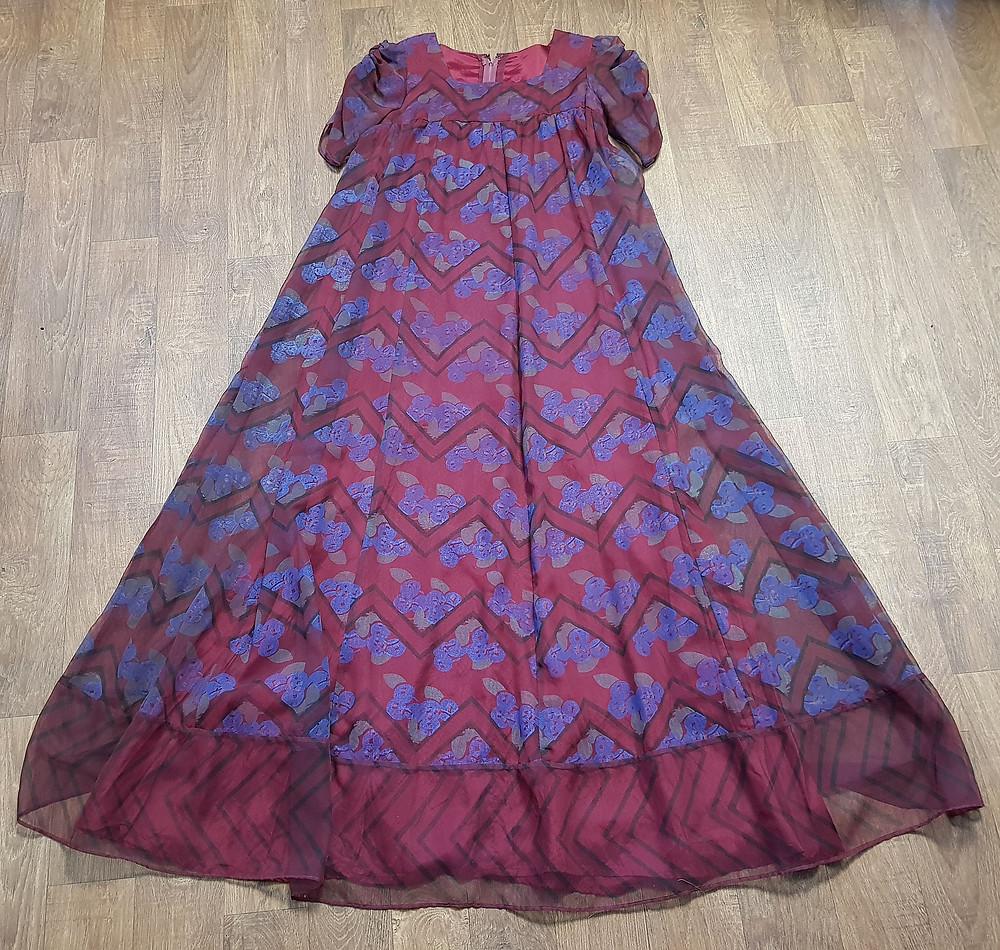 1960s Vintage Jean Varon Plum Printed Maxi Dress UK Size 8/10/12