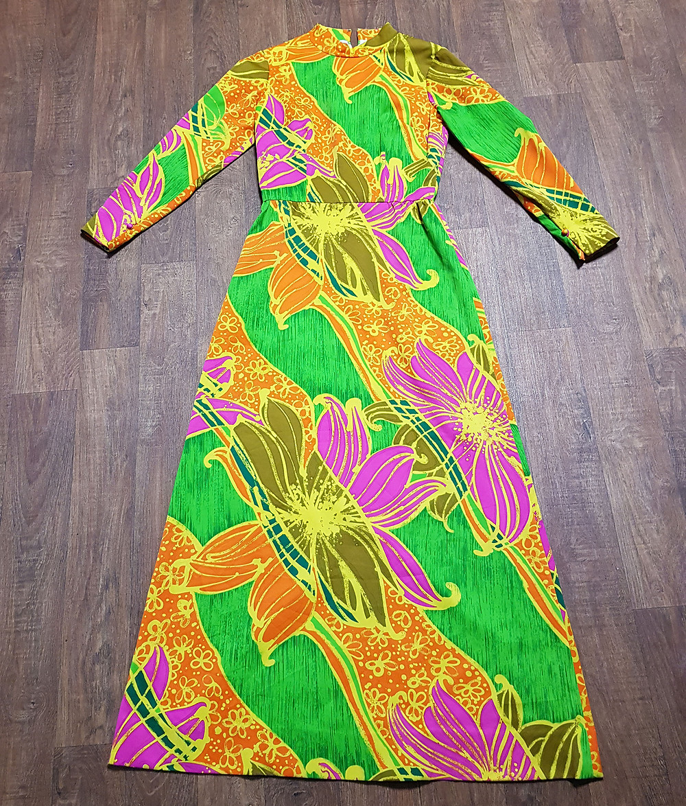 1970s Vintage Bright Psychedelic Maxi Dress UK Size 10 £55