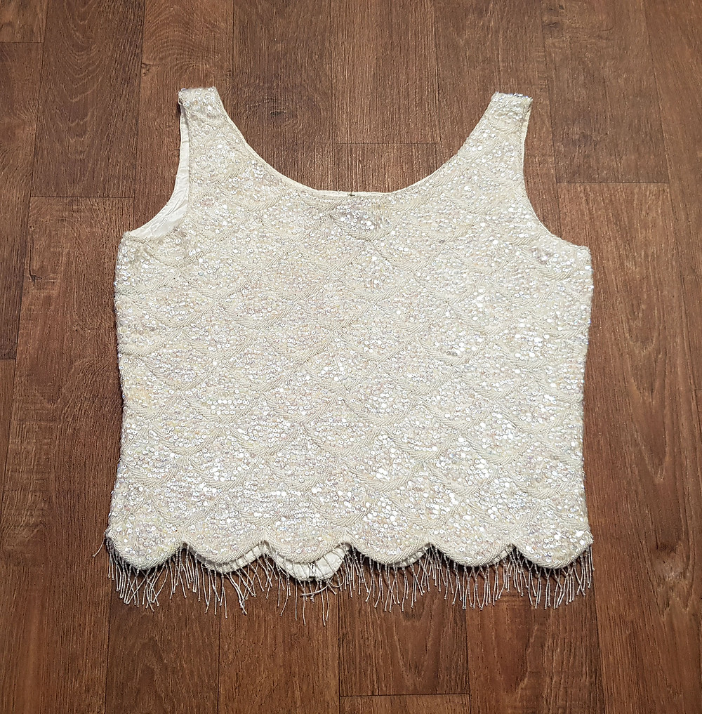 1950s/60s Vintage Cream Sequin Shift Top UK Size 14