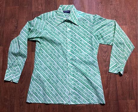 Mens Vintage Green Diagonal Stripe Shirt UK Size Medium