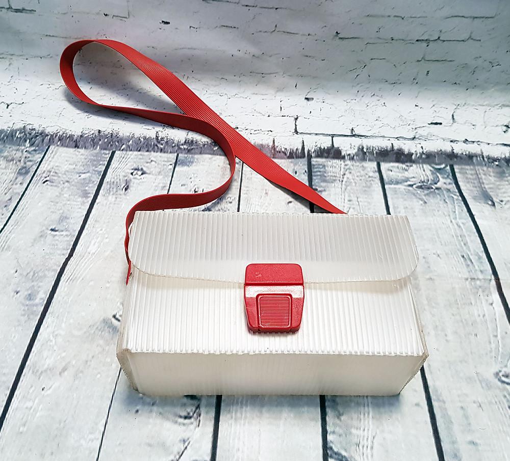 1960s Vintage Mid Century Plastic Box Shoulder Bag - Red
