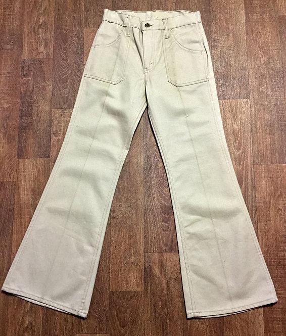 Vintage 1970s Beige Flared Jeans UK Size 10