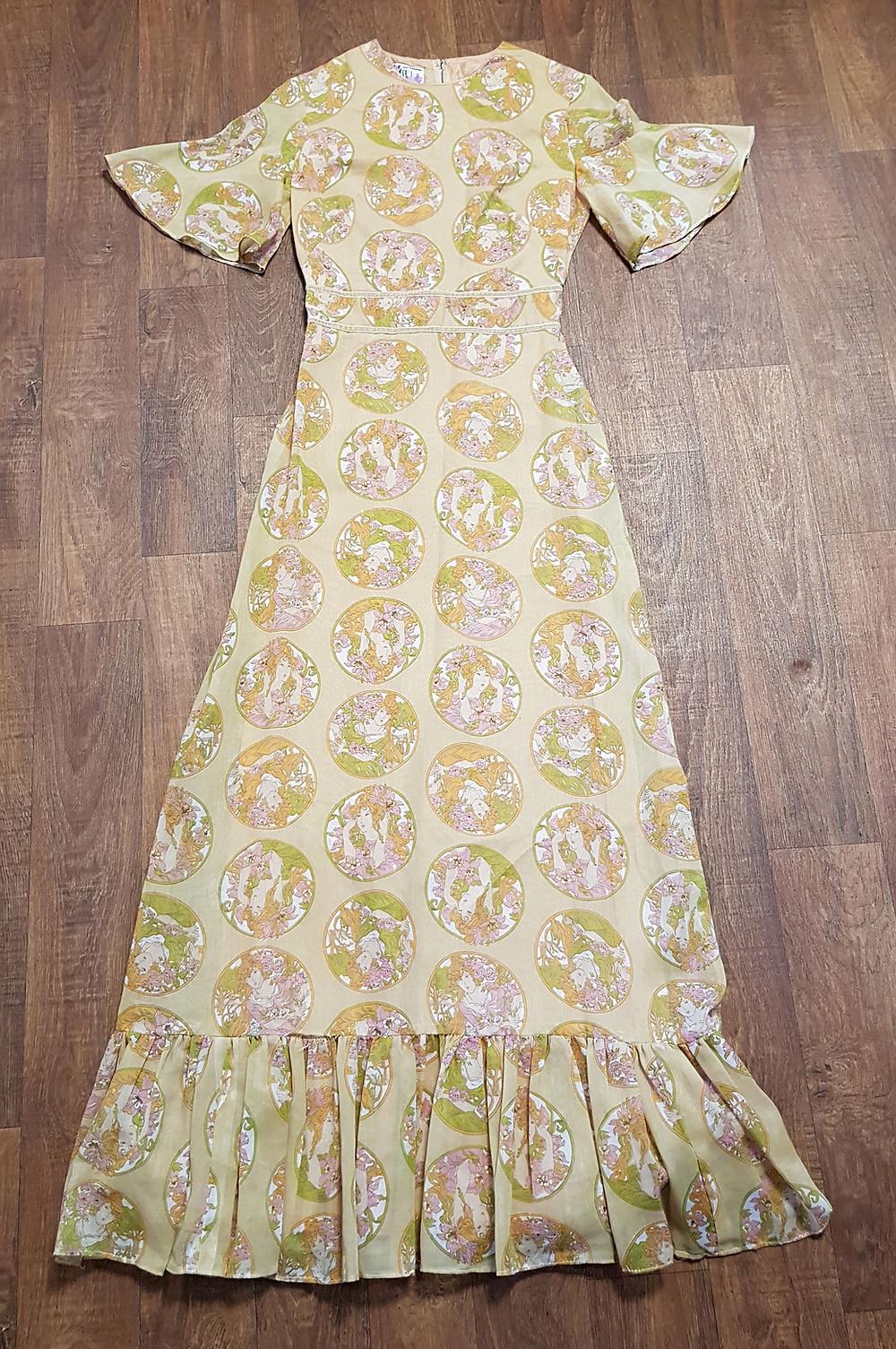 1970s Vintage Pre-Raphaelite Print Maxi Dress UK Size 8