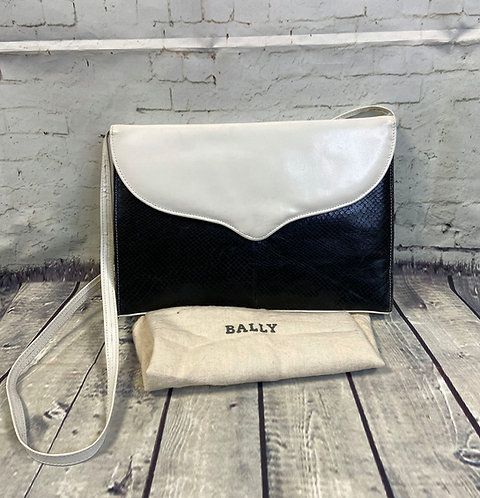 Vintage Handbag | 1970s Vintage Bally Monochrome Leather Handbag & Dustbag