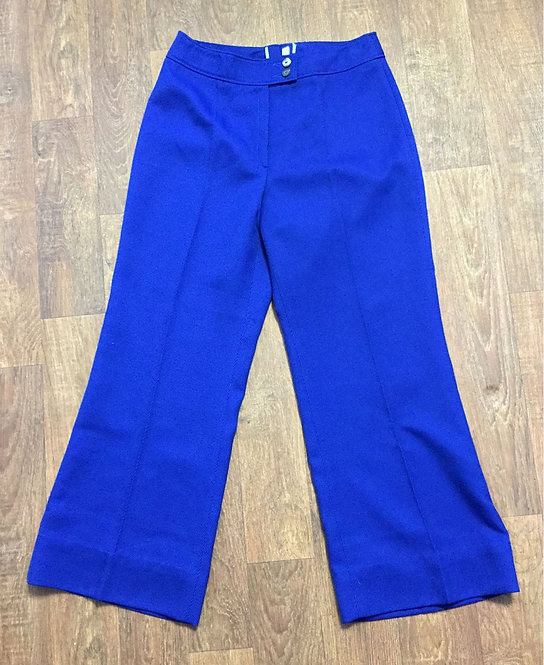 1970s Vintage Cobalt Blue Flared Trousers UK Size 12
