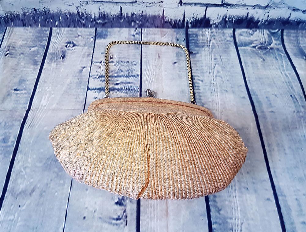 1960s Vintage Gold Shimmer Pleated Evening Bag