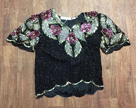 Vintage 80s Black Rose Gold Sequin Top Size 10/12