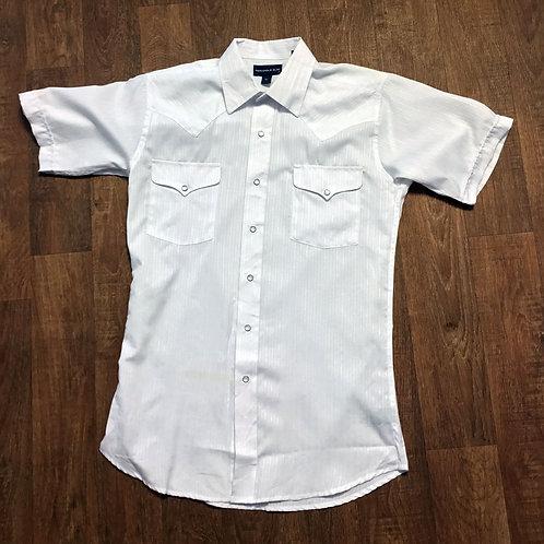 Mens Vintage 1980s White Western Shirt UK Size Medium