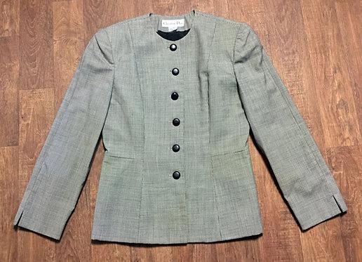 1980s Designer Vintage Dior Monochrome Blazer/Jacket UK Size 12