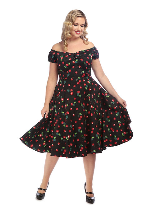 Vintage 1950s Style Black Cherry Swing Dress