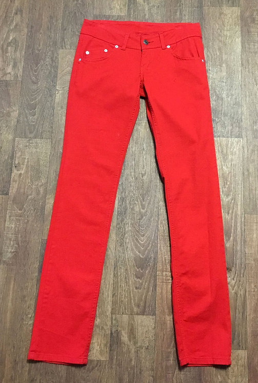 Retro Red Super Skinny Low Rise Jeans UK Size 8