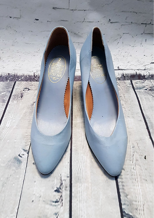 1980s Vintage St Michael Pastel Blue Stiletto Heels UK 7 EUR 40