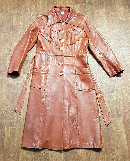 Vintage Coat | Leather Trench Coat | 70s Style | Vintage Clothing