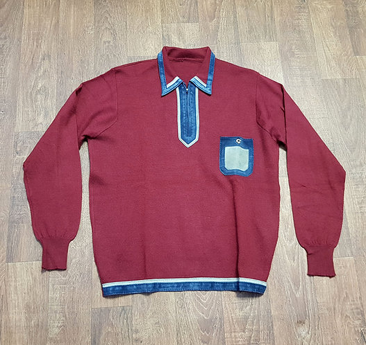 Mens 1970s Vintage Maroon Knit Top UK Size Large