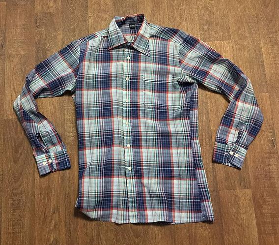 Mens Vintage Blue/Grey Check Shirt UK Size Medium
