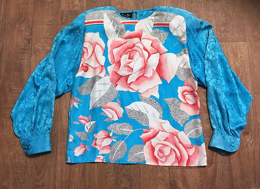 Vintage 1980s Designer Diane Freis Silk Oversize Blouse UK Size 10/12/14/16