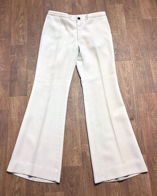 Mens Vintage 1970s Cream Flared Trousers 33W 33L