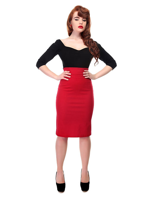 Retro Vintage Style Fiona Red Pencil Skirt