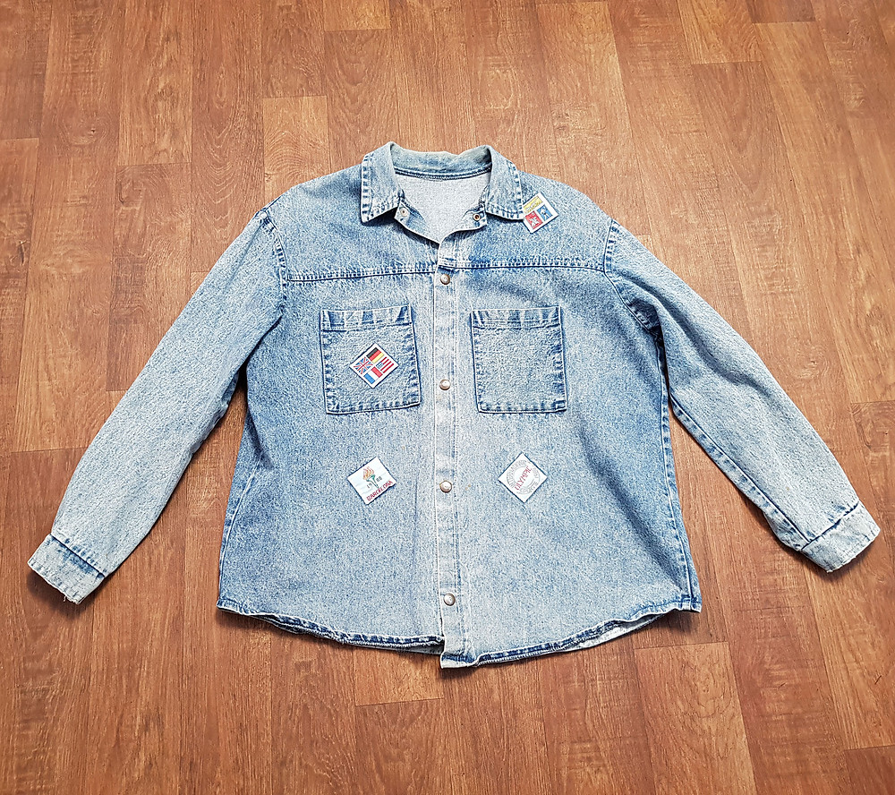1980s Vintage Denim Olympic Patch Shirt UK Size Large