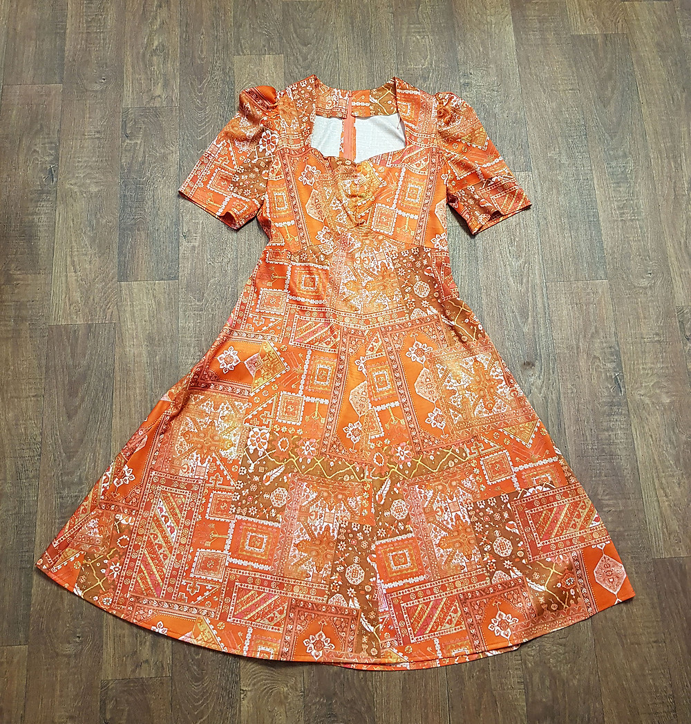 1970s Vintage Orange Printed A-Line Dress UK Size 12