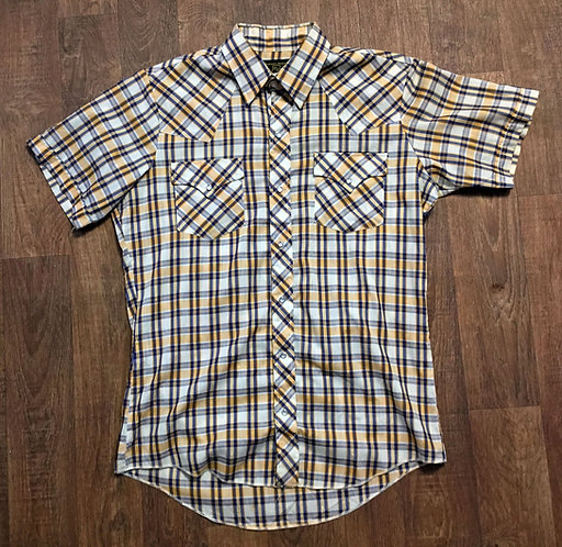 Mens Vintage Yellow/Blue Check Western Shirt UK Size Medium