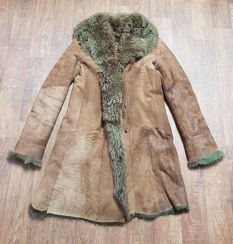 1970s Vintage Brown Sheepskin Coat UK Size 10