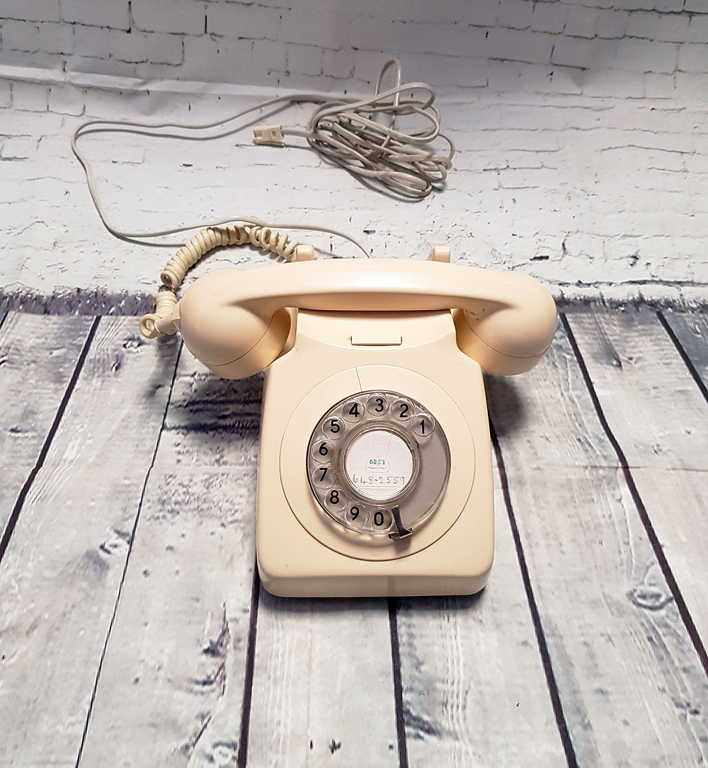 1970s Vintage Cream Rotary Dial Telephone
