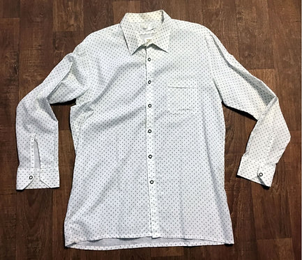 Mens 1970s Vintage White and Green Floral Shirt UK Size Large