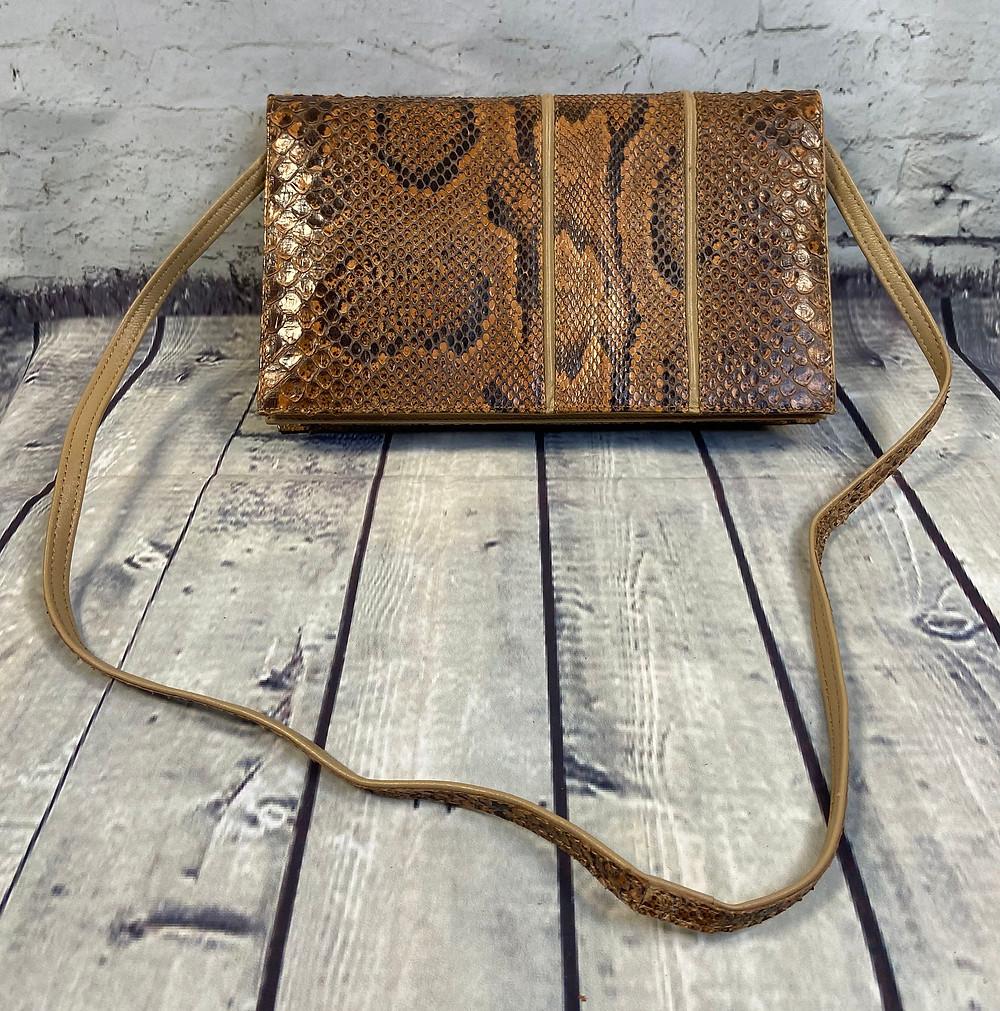 1970s Vintage Snakeskin Shoulder Clutch Bag